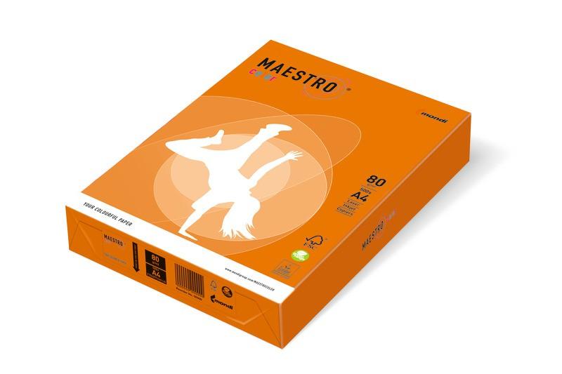 Maestro Color Intensiv Intensivgelb, Kanariengelb, Korallenrot, Lindengrün, Maigrün, Orange, Sonnengelb, Wasserblau, Ziegelrot, DIN A4, 80g/m²